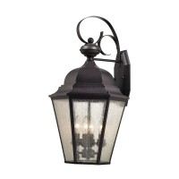 Cotswold 4-Light Outdoor Sconce in Oil Rubbed Bronze with Seeded Glass