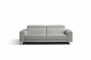 Augusto Sofa, 100% Made in Italy, Light Grey Top Grain Leather 1062 L09S, 2 Electric Recliners