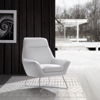 Daiana Chair white top grain Italian leather  stainless steel legs.