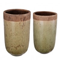 Candia Two-Tone Earthen Vases, Set of Two
