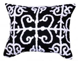"16"" x 20"" Black Embroidered Pillow"