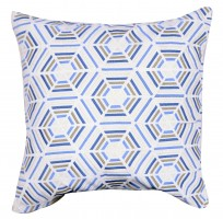 "20"" x 20"" White and Blue Embroidered Pillow"