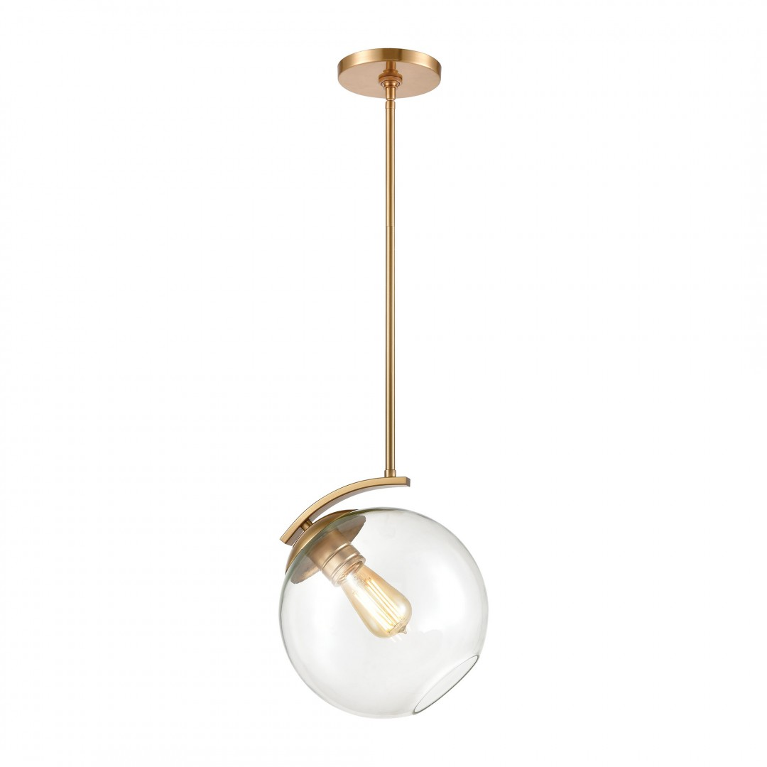 Collective 1-Light Mini Pendant in Satin Brass with Clear Glass