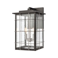 Brewster 2-Light Sconce in Matte Black with Seedy Glass