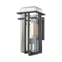 Croftwell 1-Light Outdoor Wall Sconce in Textured Matte Black with Clear Glass - Medium