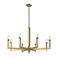 Mandeville 8-Light Chandelier in Satin Brass with Oil Rubbed Bronze Accents