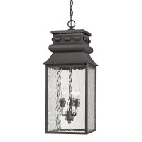 Forged Lancaster Collection 3 light outdoor pendant in Charcoal