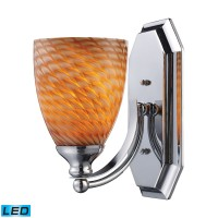 1 Light Vanity in Polished Chrome and Coco Glass - LED Offering Up To 800 Lumens (60 Watt Equivalent