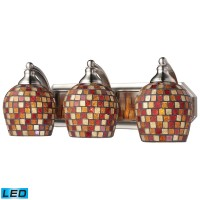 3 Light Vanity in Satin Nickel and Multi Mosaic Glass - LED, 800 Lumens (2400 Lumens Total) with Ful