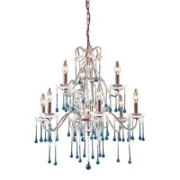Opulence 9-Light Chandelier in Rust with Aqua Crystals