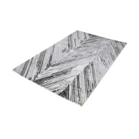 Rhythm Handwoven Printed Wool Rug In Grey And White