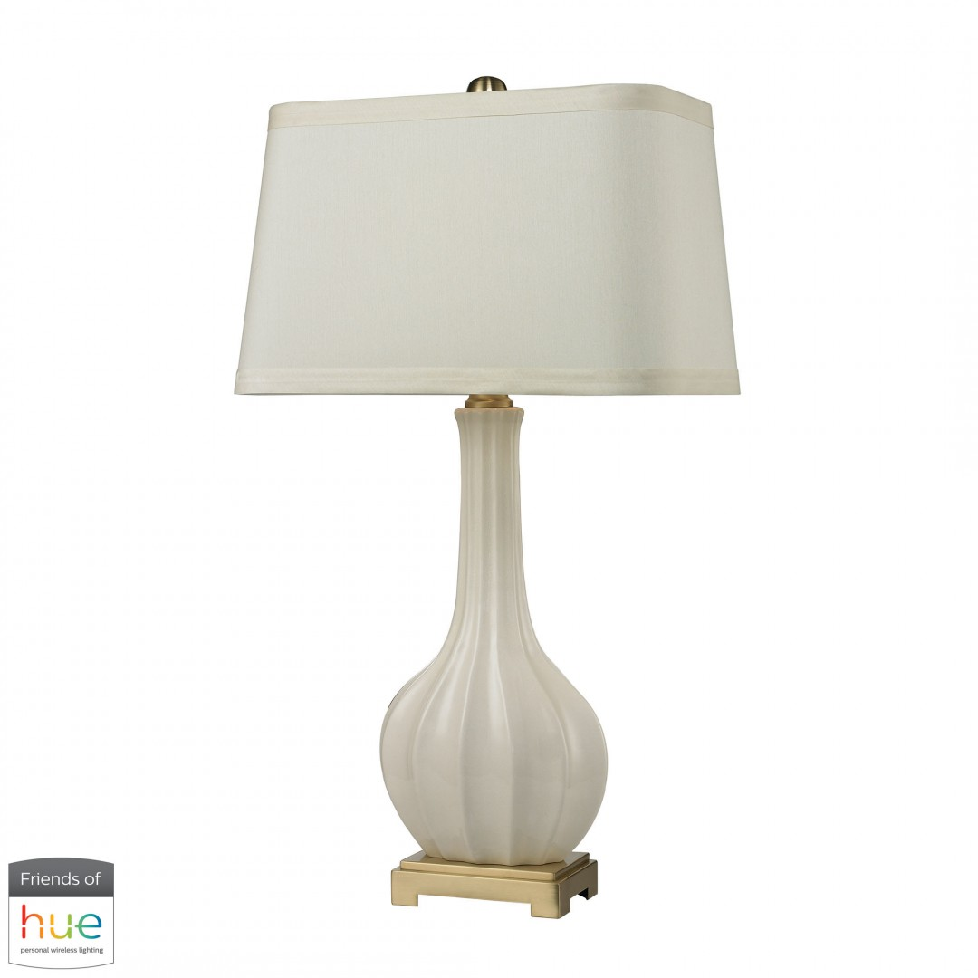 Fluted Ceramic Table Lamp in White Glaze - with Philips Hue LED Bulb/Bridge