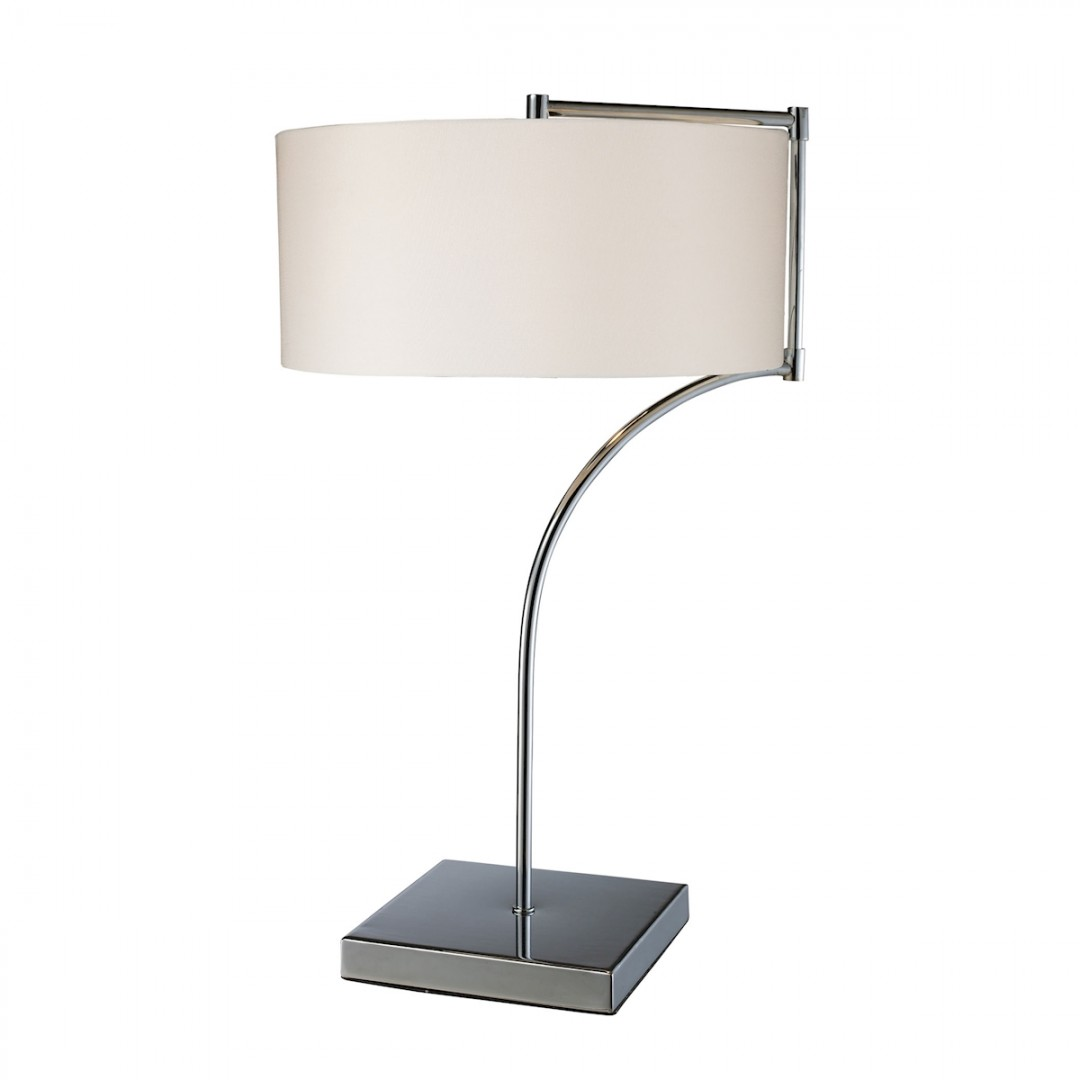 LANCASTER CHROME TABLE LAMP WITH WHITE FABRIC SHADE