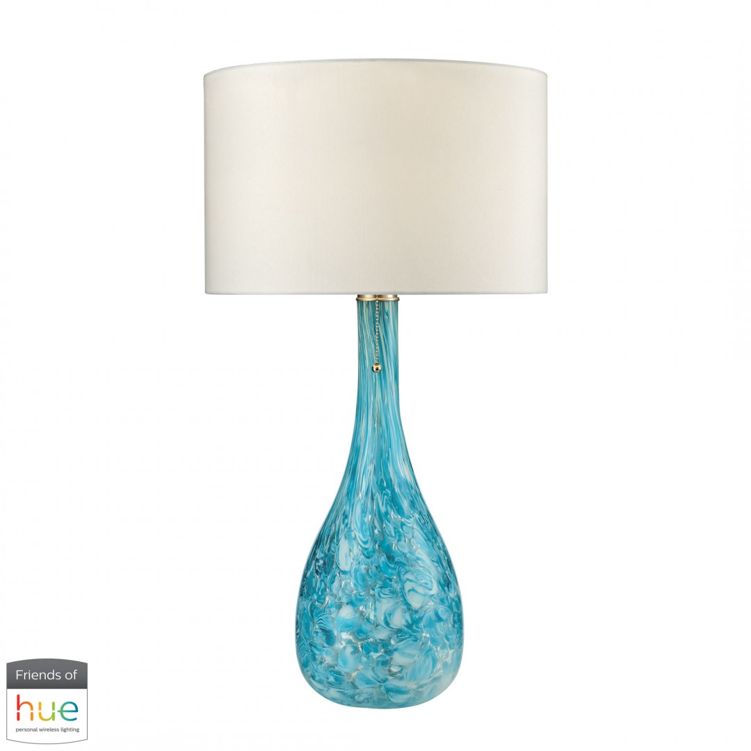 Mediterranean Blown Glass Table Lamp in Seafoam - with Philips Hue LED Bulb/Bridge