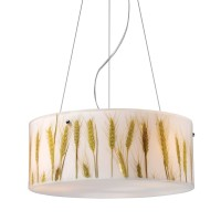 Modern Organics-3-Light Pendant in Wheat Material in Pol Chr