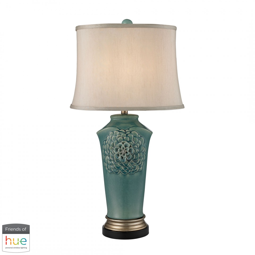 Organic Flowers Table Lamp in Seafoam Finish - with Philips Hue LED Bulb/Bridge