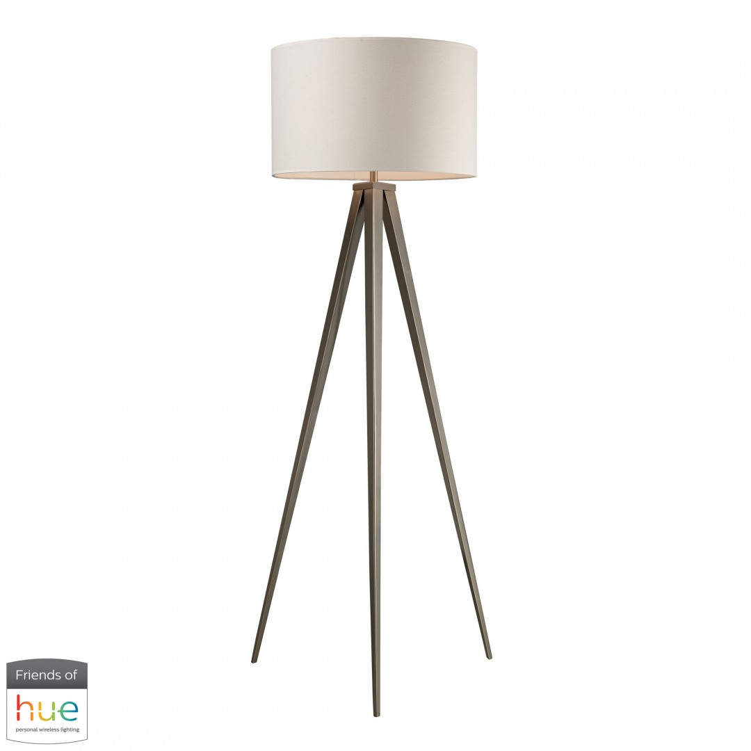 Salford Floor Lamp in Satin Nickel with Off-White Linen Shade - with Philips Hue LED Bulb/Bridge
