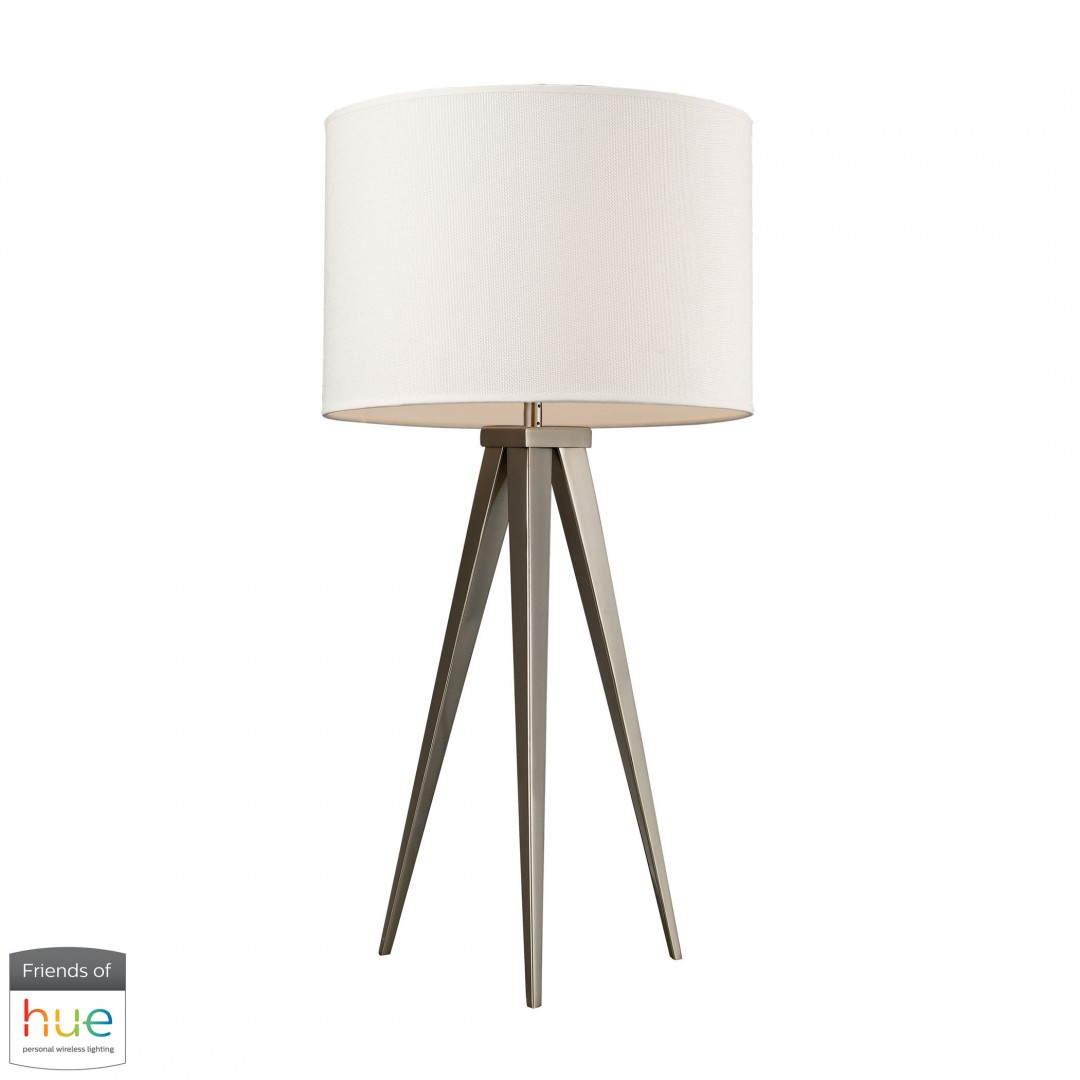 Salford Table Lamp in Satin Nickel with Off-White Linen Shade - with Philips Hue LED Bulb/Dimmer