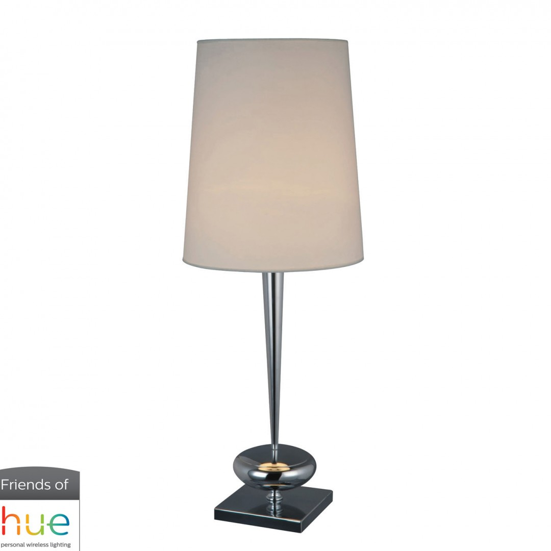 Sayre Table Lamp in Chrome with White Faux Silk Shade - with Philips Hue LED Bulb/Dimmer