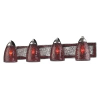 VANITY COLLECTION ELEGANT BATH LIGHTING 4-LIGHT RED CRACKLED GLASS AND BACKPLATE