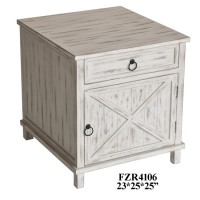 Covington White Wash 1 Drawer 1 Door End Table