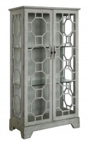 Evelyn 2 Door Painted Grey Glass Curio with Fretwork